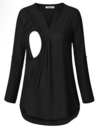 - Hellmei Plus Size Breastfeeding Clothing for Women, Stylish Comfy Nursing Blouses for Women Pleats Drape Shirts(Black Grey,L)