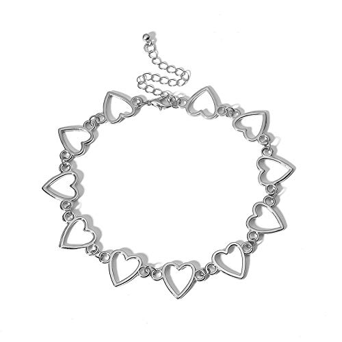 Aland Fashion Women Hollow Alloy Heart Choker Necklace ♥ Party ♥ Jewelry Creative Handmade Decoration Women's Simple Heart-Shaped Hollow Chain Personality Silver ()