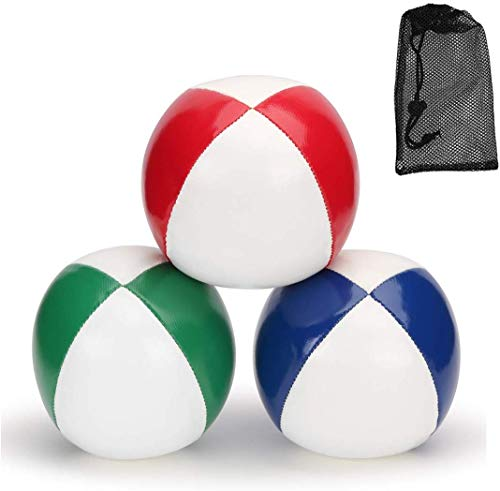 Juggling Balls for Beginners Kids & Professional (Red Green Blue)- Durable PU Leather & No Bounce Design Juggling Sets - Soft and Weighted Juggle Balls Kit & Travel Storage Bag