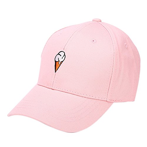 Mens Womens Couple Peaked Caps Hip Hop Curved Snapback Fresh Cute Icecream Baseball Caps Adjustable Cotton Washed Hat (Pink) by Aurorax Hat (Image #1)
