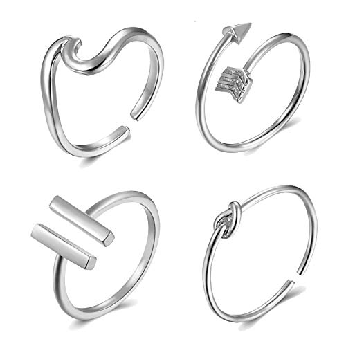YANCHUN 4 Pieces Silver Wave Arrow Knot Butterfly Bar Ring Dainty Open Adjustable Rings Set for Women Gold Deer Leaf Hexagon Tail Ring for Girls (A: Silver Arrowave-Barkont) (Open Knot Ring)