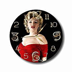 dudkaair Marilyn Monroe 11,4 Handmade Reverse (Back Stroke) Wall Clock - Get Unique décor for Home or Office - Best Gift Ideas for Kids, Friends, Parents and Your Soul Mates