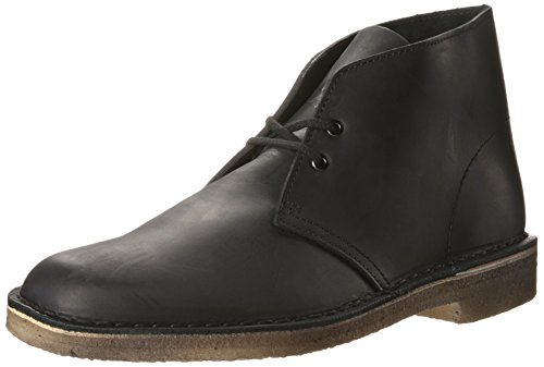 CLARKS Men's Desert Chukka Boot, Black Smooth, 8 Medium US