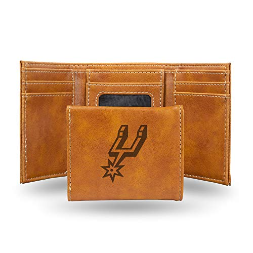 Rico Industries NBA San Antonio Spurs Laser Engraved Tri-Fold Wallet, Brown ()