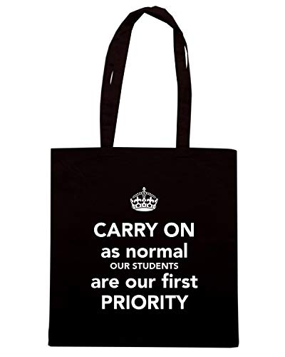 Borsa Shopper Nera TKC3572 CARRY ON AS NORMAL OUR STUDENTS ARE OUR FIRST PRIORITY