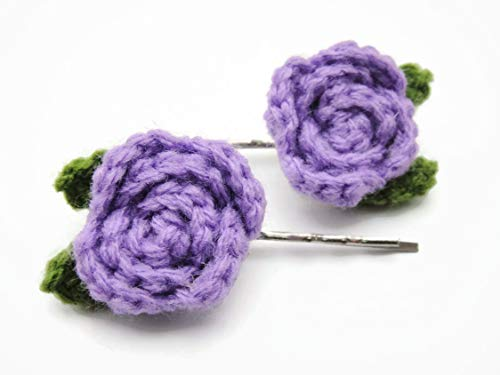 Hair Clip Bobby Pin Girl Accessories Crochet Rose Rosette Flower Medium Purple