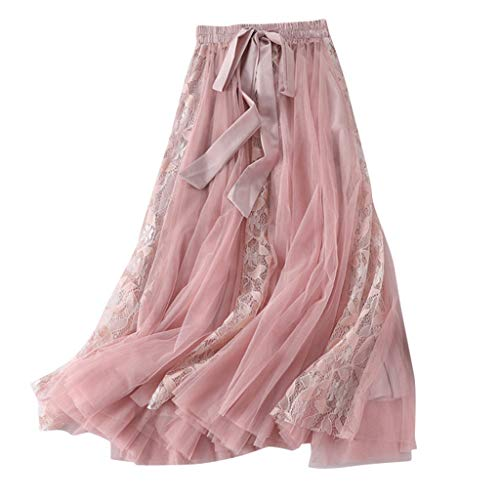Women's Bohemian Elastic Waist Chiffon Floor Length Skirt, Flowing Maxi Big Hem with Drawstring Pink