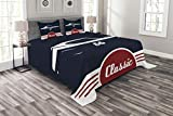 Lunarable Man Cave Bedspread Set Queen Size, Classic Vintage Sports Car Muscle Vehicle Silhouette Old Fashioned Style, Decorative Quilted 3 Piece Coverlet Set with 2 Pillow Shams, Night Blue Red White