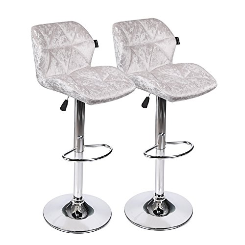Sets 2 of Modern Bar Stools - Adjustable Swivel Leather Shell Back Chairs Chrome Base - Pub, Kitchen, Dining (Chrome Dining Room Bar Stool)