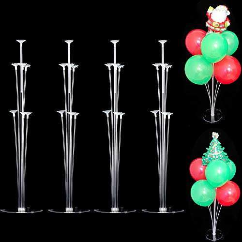 BASENOR Balloon Stand 4 Set Balloon Column Stand Kit Base and Pole, Desktop Holder Balloon Tower Decoration for Christmas Birthday Party Wedding Party Event - Column Desktop