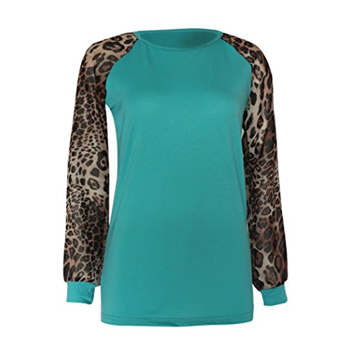 T CUCUHAM Fashion Oversize Sleeve Blouse Leopard Long Tops Shirt Womens Green Ladies XrxSq0wXz