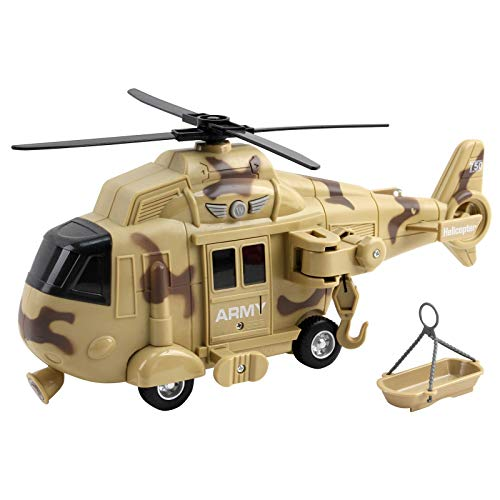 """Vokodo Military Helicopter 11"""" With Lights Sounds Push And Go Includes Rescue Basket Durable Toy Friction Power Kids Army Soldier Chopper Pretend Play Truck Great Gift For Children Boys Girls Toddlers"""