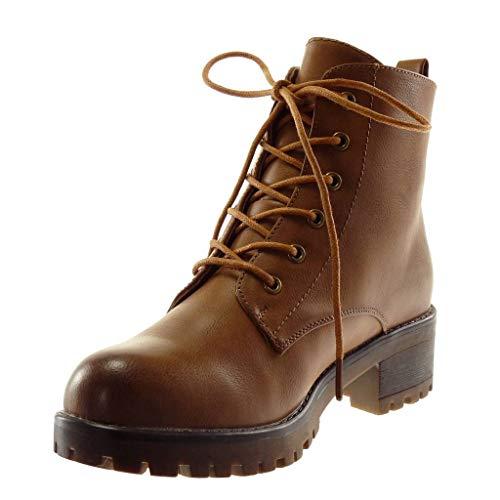 Tacco Stivaletti 4 Scarpe Alto Donna Rangers Boots Scarponcini Blocco Moda Cammello Chelsea 5 A Elastico Angkorly Biker Cm BvAwfqxx