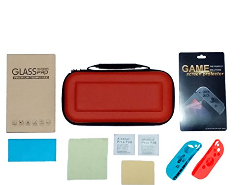 Silicone Switcheasy Case (Nintendo Switch Case Premium Tempered Glass Screen Protector and Game Screen Protector With Hard and Portable Nintendo Switch Eva Bag Red and Blue Joy-Con Silicone Cover Red Eva Case)