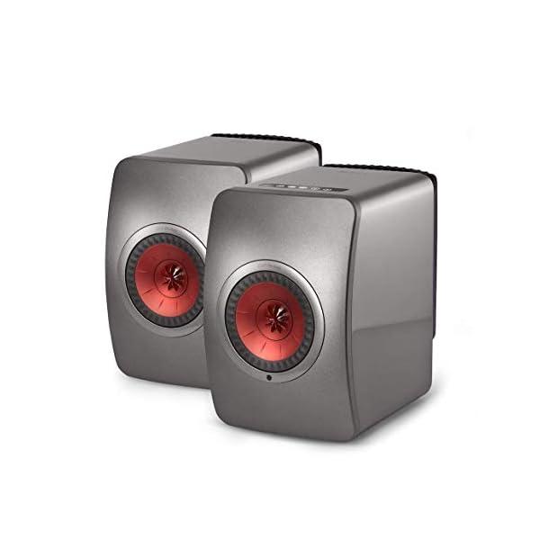 KEF LS50 Wireless - Enceinte sans Fil - Titane | Enceintes Actives | HiFi | Airplay 2 Enceintes | Spotify Connect, Tidal | LS50 système de Musique Active et système stéréo 1
