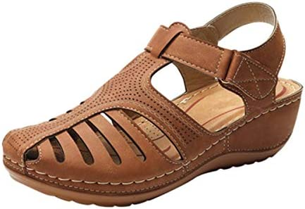 Thenxin Women`s Soft Leather Sandals Vintage Casual Hollow Wedge Summer Anti-Slip Closed Toe Beach Shoes / Thenxin Women`s Soft Leather Sandals Vintage Casual Hollow Wedge Summer Anti-Slip Closed Toe Beach Shoes
