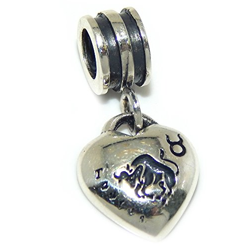 Pro Jewelry 925 Solid Sterling Silver Taurus Zodiac Sign Heart Charm Bead