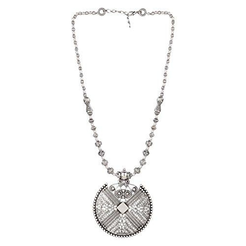 Efulgenz Boho Vintage Antique Ethnic Gypsy Tribal Indian Oxidized Silver Beaded Statement Pendant Necklace Jewelry (Indian Tribal)