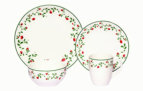 Melange Coupe 16-Piece Porcelain Dinnerware Set | Berries Collection | Service for 4 | Microwave, Dishwasher & Oven Safe | Dinner Plate, Salad Plate, Soup Bowl & Mug (4 Each) ()