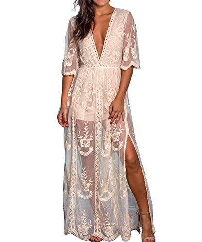 BOMBAXCEIBA Women Fashion Low Neckline Lace Maxi Dress Embroidered Romper (M, Beige)