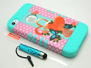New Hybrid Protector Cover for Apple Iphone 4/4s Hard Case with Soft Silicone Skin Layer (Butterfly)