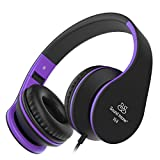 Kids Headphones, Sound Intone Foldable Headphones with Mic and Volume Control, On-ear Wired Soft Headset for Girls Boys Students (Black Purple)
