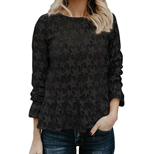Women Lace Hollow Tops Laimeng_World Womens Sexy Star Lace Hollow Tops Long Sleeve T Shirt Tee Blouse Tunic - The North Face 3/4 Sleeve T-shirt