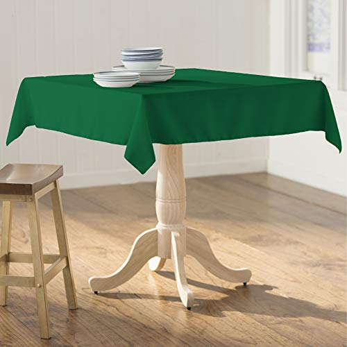 LA Linen Square Tablecloth - 58 x 58  Inch-Square Table Cloth for 36 Table in Washable Polyester - Great for Intimate Dinners, Parties, Holiday Dinner, Wedding & More in  Emerald Green