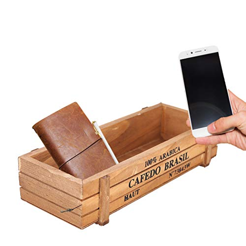 (SZ-JIAHAIYU Wooden Storage Box Vintage Wood Garden Flower Planter Succulent Pot Planting Container,Home Outdoor Balcony,Wedding Flowers Holder, Home and Venue Decor (Retro Color))