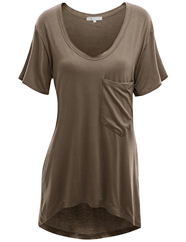 Doublju Women Comfy Cap Sleeve Scoop Neck Tunic Shirt MOCHA,L