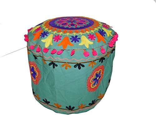 Pouf Ottoman Traditional Indian Embroidered Bohemian Patchwork Round Cover Jaipuri Style Floor Stool Cotton Cushion Ethnic Designs 15x20 Inches(LB)- By Shruti (Halloween X Houston)