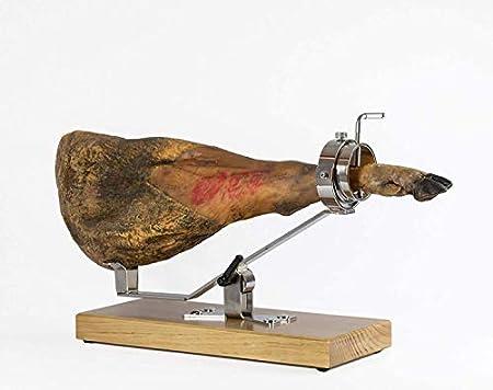 Jamonero Giratorio Basculante/Balancín Fabricado en Madera Nogal. Jamonero profesional para uso doméstico y profesional. Incluye barra salchichón, cubrejamón negro, cuchillo y chaira, soporte