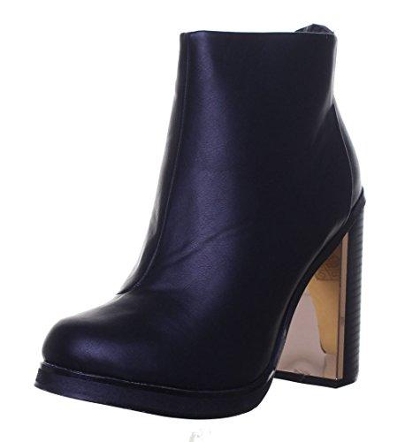Étui Fashion Femme Pour Black Bottes Mesdames Chelsea Bloc Doré We1 Talon wS1IYIZq