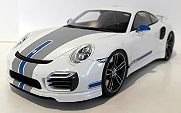 Porsche 911 (991) Turbo S Techart, white/Decorated, Model Car,