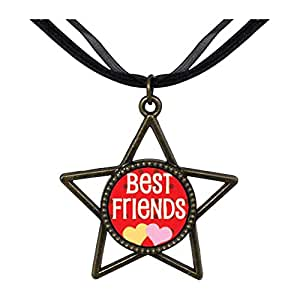 Chicforest Bronze Retro Style Best Friends Five Pointed Star Pendant