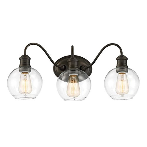 Quoizel Soho 3-Light 9.5-in Bronze Globe Vanity Light - Soho Bathroom Vanity Light