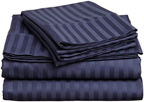 RV Mattress Short Queen Sheet Set - (60x75) Stripe Navy Blue 400 Thread Count Egyptian Cotton -Made Specifically for RV, Camper & Motorhomes