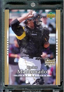 (2007 Upper Deck First Edition Baseball Card #34 Carlos Maldonado Pittsburgh Pirates - Mint Condition - In Protective Display Case !)