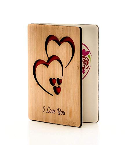 (Real Bamboo Wooden I Love You Cards; Perfect Gift For Any Occasion; Happy Anniversary Card; Mothers Day Card; Fathers Day Card; Wood Greeting Card For Wife, Husband, Girlfriend, Boyfriend, Him)