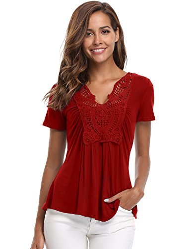 MISS MOLY Women's Deep V-Neck Ruched Front Short Sleeve Ruffle Casual Tops Tunic Blouse Shirt (Large/US-14, Red) -