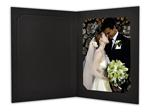 Golden State Art, Cardboard Photo Folder for 5x7/4x6 (Pack of 50) Cut Corners GS010-S Black - Corner Art