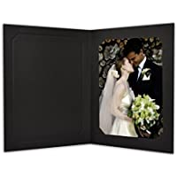 Golden State Art, Cardboard Photo Folder for 5x7/4x6 (Pack of 50) Cut corners GS010-S Black Color