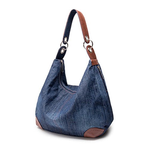 Ladies Shoulder 2 Big Shoulder Bag Denim Handbag Jeans Ladies Bag Blue Handbag Tote Crossbody 1vOPqEwEx