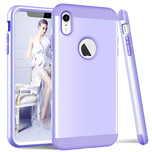 (DECVO Phone Case Compatible with iPhone 9 iPhone XR -6.1 Inch, Soft Interior Silicone Bumper & Hard Shell Solid PC Back, Anti-Scratch Hybrid Dual-Layer Slim Cover, Shock-Absorption&Skid-Proof (Purple))