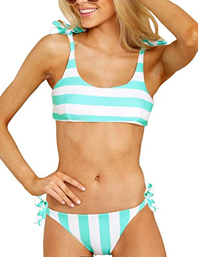 Blooming Jelly Womens Two Piece Swimsuits Tie Knot Padded Push Up Brazilian Thong Cheeky Bikini Set (Large, Blue) ()