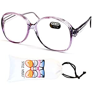E3035-vp Style Vault Oversized Reading Eyeglasses (B1867F +2.75 Crystal Purple)