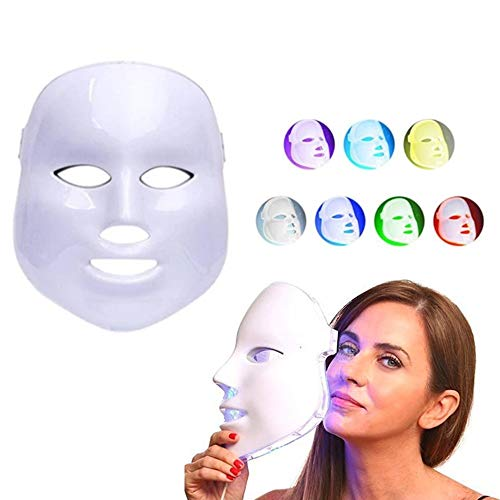 GYTWL Small Face LED Face Mask 7 Color Mask Instrument Photon Light Therapy Skin Care System Smooth Skin Rejuvenation Anti Aging Tightening Toning Wrinkle Acne Collagen Restoring & Whitening