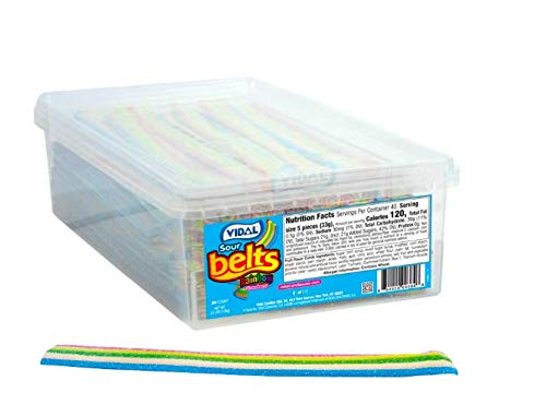Sour Tub (SOUR CANDY BELTS 2.9 POUNDS IN TUB By Rdale Fresh Candy (SOUR RAINBOW BELTS))