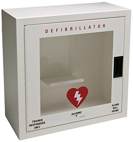 Allegro Industries 4210‐01 Metal Defibrillator with Alarm, Small, White