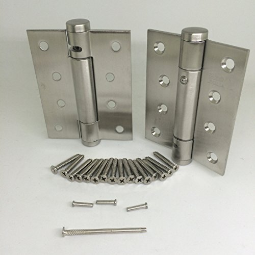 Ranbo stainless steel heavy duty spring loaded door butt hinge ,automatic closing/soft closer/adjustable tension/support buffer gate 5 X 3 inch brushed chrome( Pack of 2) thickness 2.9 mm (Silver)